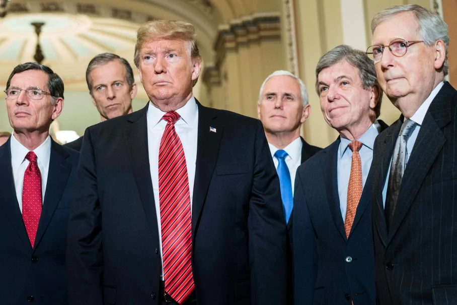 Was taken on the 19th day of the government shutdown. President Donald Trump (center) with Senator John Barrasso,, John Thune, Mitch McConnell, and Vice President.  Photo Credit: Melina Mara