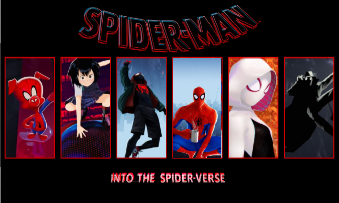 All+of+the+different+Spider-People+seen+in+the+movie.