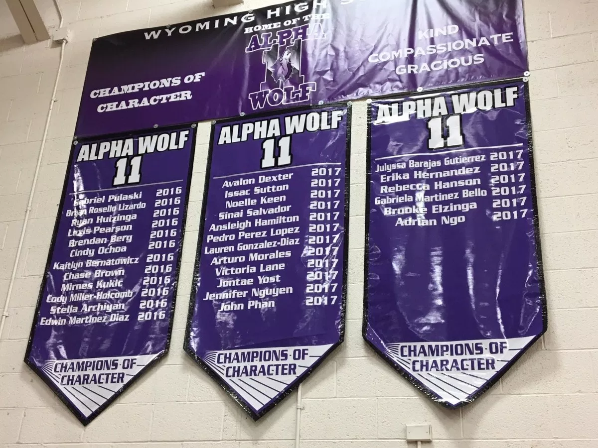 The huge alpha wolf banners displayed in the gym