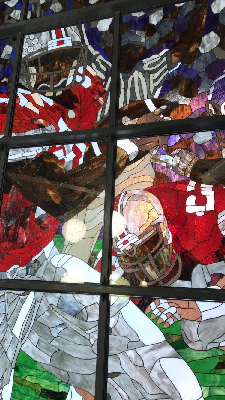 A stain glass window at Ohio State's home stadium.