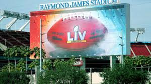 A picture of the billboard at super bowl LV.